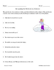Recognizing the Predicate in a Sentence Worksheet