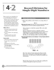 Record Division By Using Single Digit Numbers Lesson Plan
