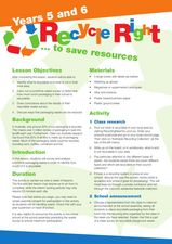 Recycle Right to Save Resources Lesson Plan
