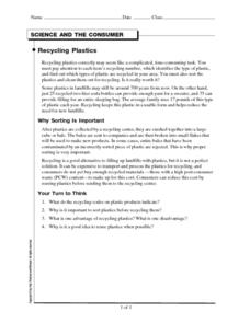 Recycling Plastics Worksheet