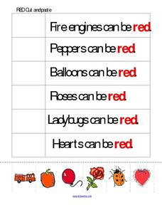 Red Cut And Paste Worksheet