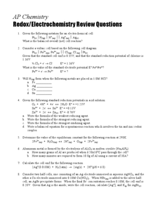 Redox/Electrochemistry Review Questions Worksheet