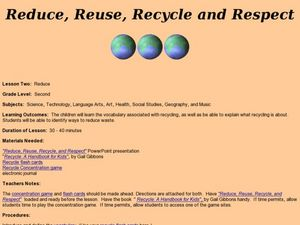 Reduce, Reuse, Recycle and Respect Lesson Plan
