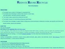 Reduce, Reuse, Recycle... Lesson Plan