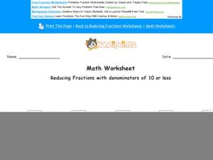 Reducing Fractions Part 4 Worksheet
