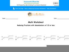 Reducing Fractions with Denominators of 10 or less: Part 6 Worksheet