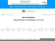 Reducing Fractions with Denominators of 10 or Less: part 7 Worksheet