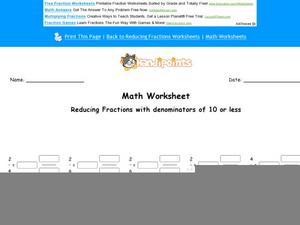 Reducing Fractions with Denominators of 10 or Less: Part 9 Worksheet