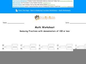 Reducing Fractions with Denominators of 100 or Less: Part 1 Worksheet