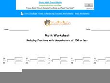 Reducing Fractions with Denominators of 100 or Less: Part 4 Worksheet