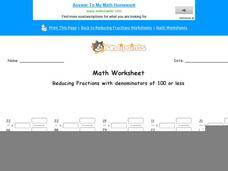 Reducing Fractions with Denominators of 100 or Less: Part 6 Worksheet