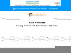 Reducing Fractions with Denominators of 100 or Less: Part 7 Worksheet