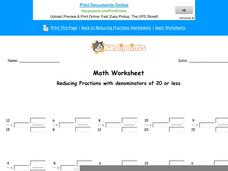 Reducing Fractions with Denominators of 20 or Less: Part 5 Worksheet