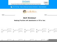 Reducing Fractions with Denominators of 20 or Less: Part 7 Worksheet