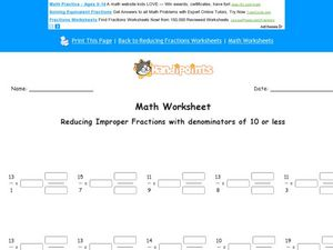 Reducing Improper Fractions with a Denominator of 10 or Less: Worksheet 4 Worksheet