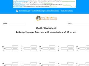 Reducing Improper Fractions with Denominators of 10 or Less: Part 10 Worksheet