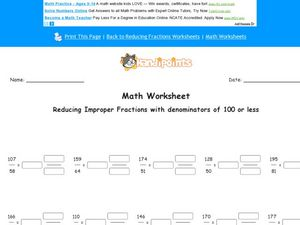 Reducing Improper Fractions with Denominators of 100 or Less Worksheet