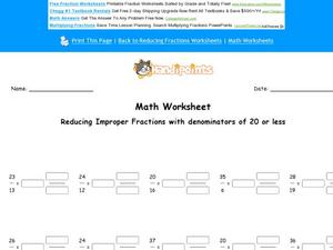 Reducing Improper Fractions with Denominators of 20 or Less Worksheet