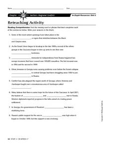 Regional Conflict Worksheet