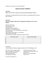 Regional Economic Multipliers Worksheet
