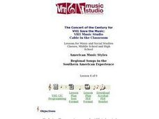 Regional Songs in the Southern American Experience Lesson Plan