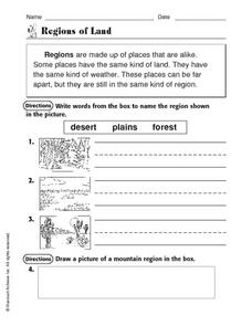 Regions of Land Worksheet