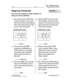 Regroup Hundreds Worksheet