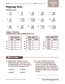 Regroup Ones: Practice Worksheet
