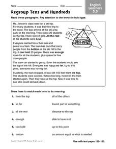 Regroup Tens and Hundreds Worksheet