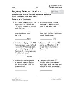 Regroup Tens as Hundreds Worksheet