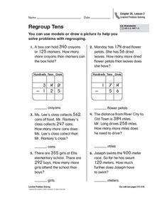 Regroup Tens Worksheet