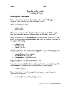types of verbs worksheet pdf