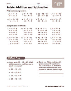 math worksheet : relate addition and subtraction practice 2nd  3rd grade  : Addition And Subtraction Practice Worksheets