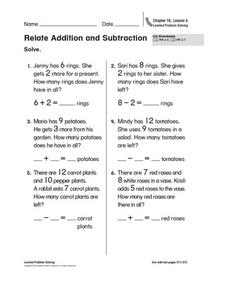 Relate Addition and Subtraction Worksheet