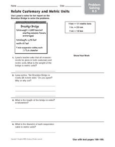 Relate Customary and Metric Units - Problem Solving 8.5 Worksheet