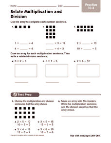 Relate Multiplication and Division: Practice Worksheet