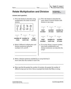 Relate Multiplication and Division Worksheet