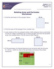 Relating Area and Perimeter Worksheet Worksheet