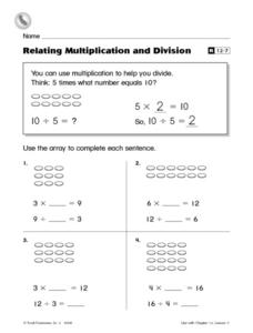 Relating Multiplication and Division R12-7 Worksheet