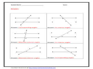 Supplementary Angle Relationships (A) Geometry Worksheet