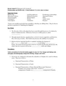 Relationships and Biodiversity Lab Worksheet