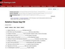 Relative Clause Gap Fill Worksheet