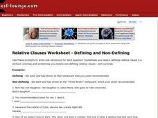 Relative Clauses Worksheet--Defining and Non-Defining Worksheet