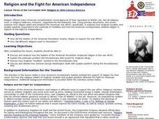 Religion and the Fight for American Independence Lesson Plan