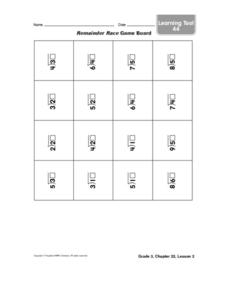Remainder Race Game Board Worksheet