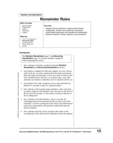 Remainder Rules Lesson Plan