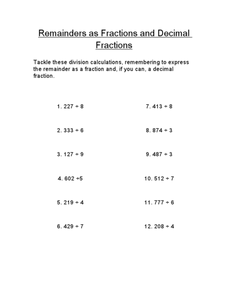 Remainders as Fractions and Decimal Fractions Worksheet