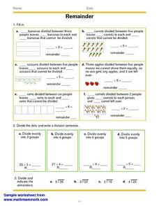 Remainders in Division Problems Worksheet