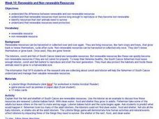 Renewable and Non-renewable Resources Lesson Plan