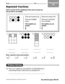 Represent Fractions (Homework 19.1) Worksheet